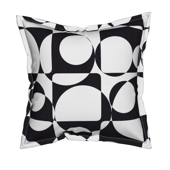 b and w large scale pillow