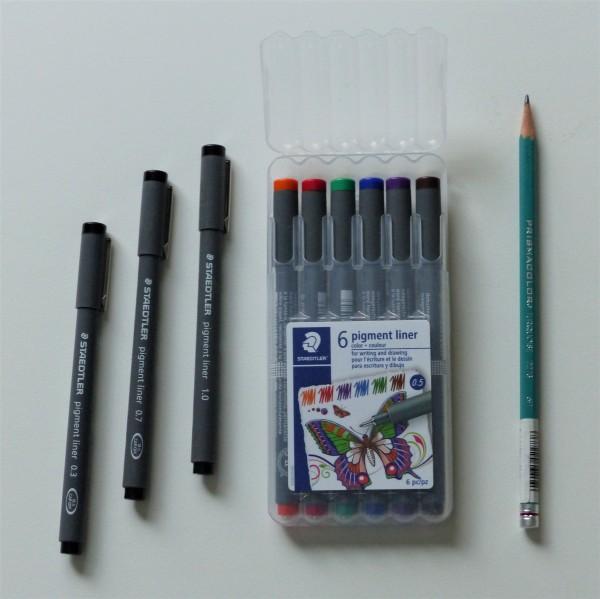 staedtler pens and prismacolor pencil