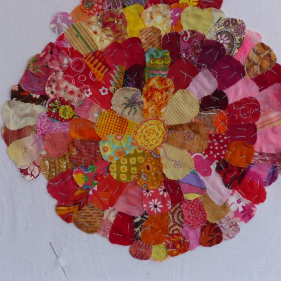 flower fabric collage