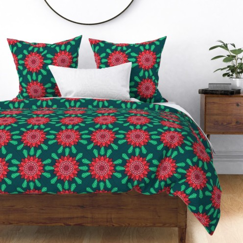 waratah stylized mandala flower by lalalamonique on roostery duvet cover