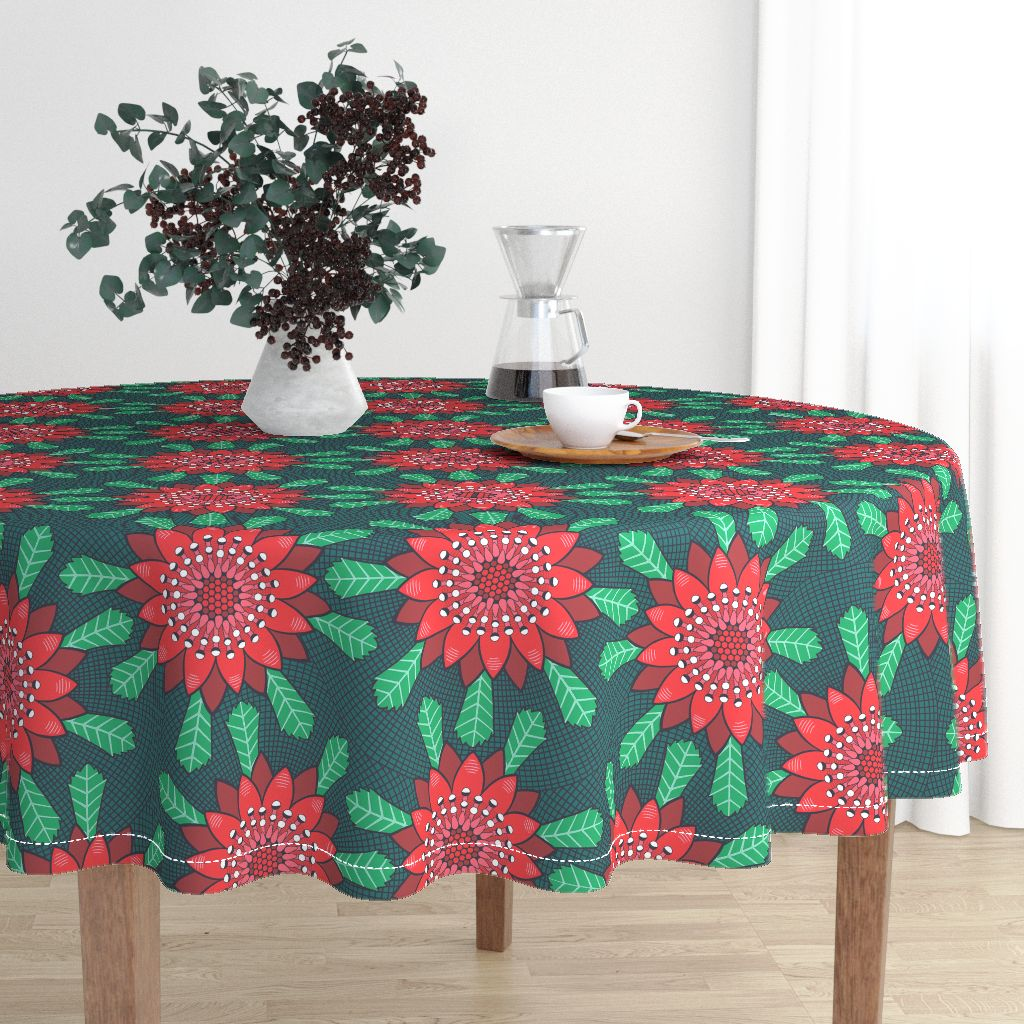 waratah stylized mandala flower by lalalamonique on roostery round tablecloth