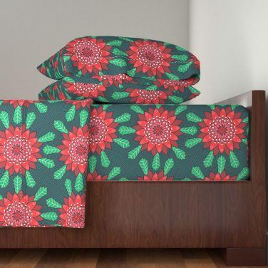 waratah stylized mandala flower by lalalamonique on roostery sheets
