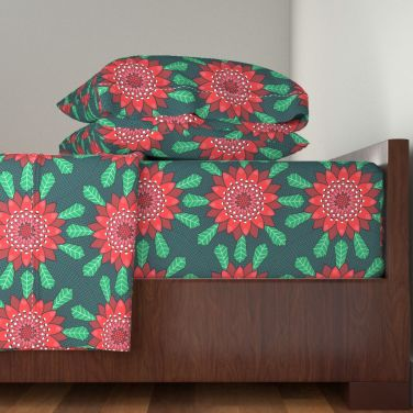 waratah stylized mandala flower by lalalamonique on roostery sheets