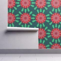waratah stylized mandala flower by lalalamonique on roostery wallpaper