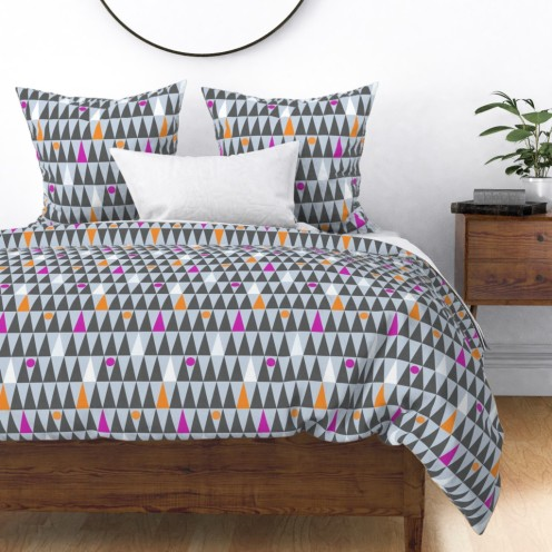 tall triangles and circles by lalalamonique on roostery duvet cover