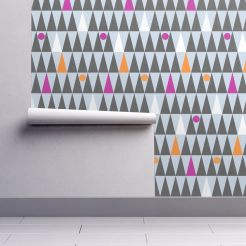 tall triangles and circles by lalalamonique on roostery wallpaper