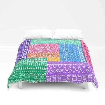 boho bright patchwork bedspread