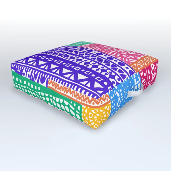 boho bright patchwork cushion